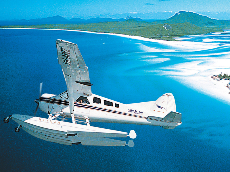 Plane over Great Barrier Reef
