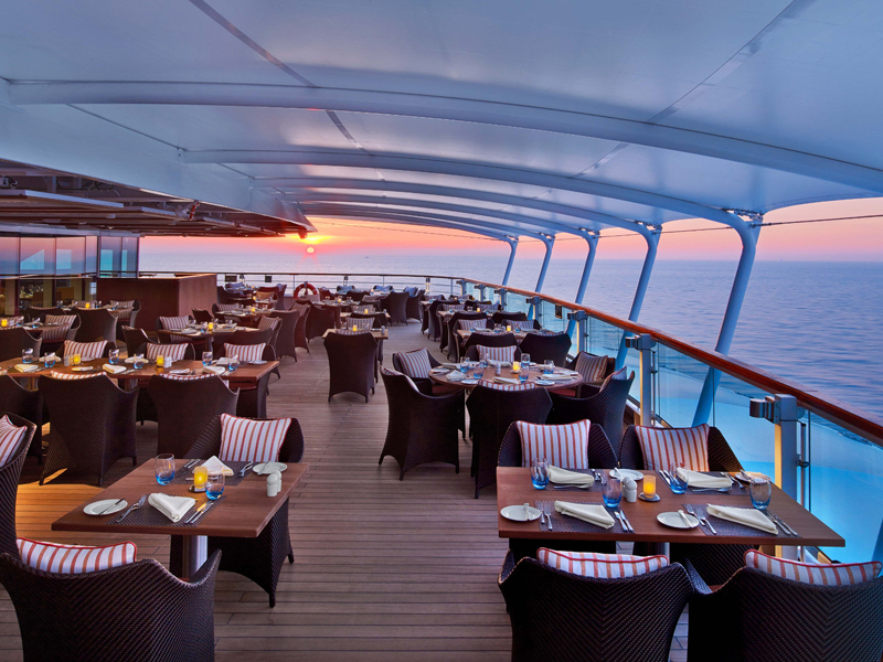 The Colonnade dining area aboard the Seabourn Encore