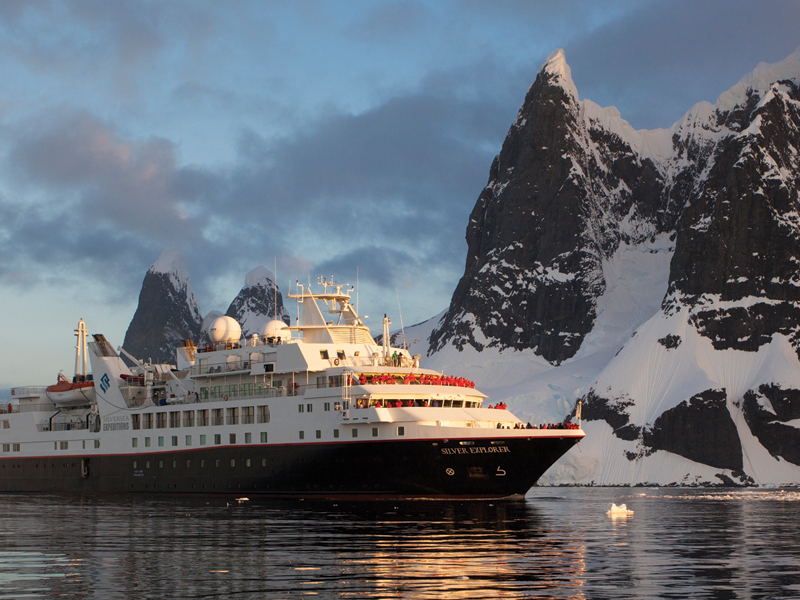 The Silversea Silver Explorer enters the Lemaire Channel on the Antarctic peninsula